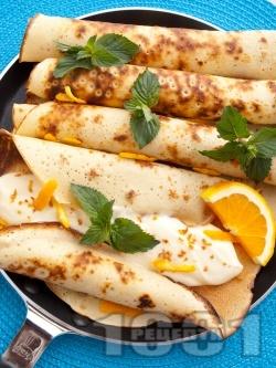 Портокалови палачинки с мед и нежен крем - снимка на рецептата
